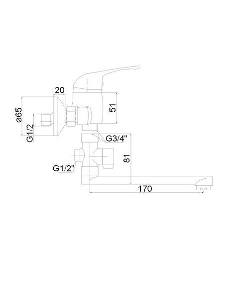 Vannas jaucējkrāns (200) ar komplektu MG-6233 MAGMA JUPITS - 2