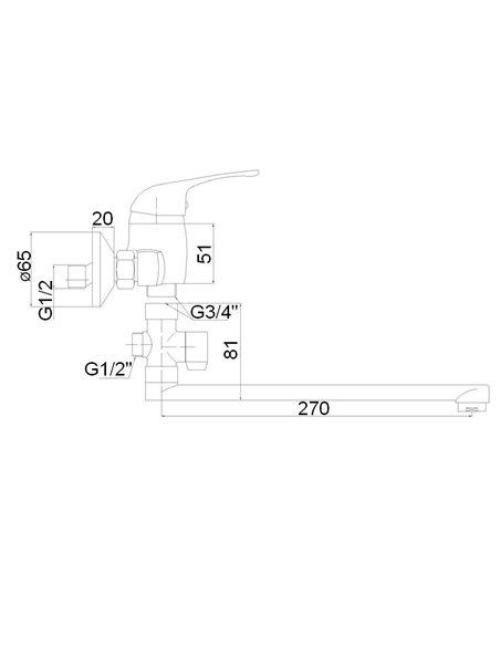 Vannas jaucējkrāns (300) ar komplektu MG-6234 MAGMA JUPITS - 2