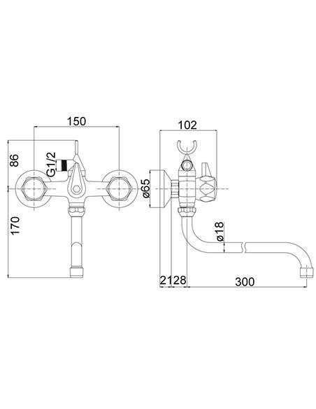 Vannas jaucējkrāns ar grozamo izteku MG2134 RING MAGMA DIVUPE - 3