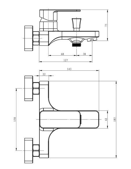 Vannas jaucējkrāns bez komplekta MG-2520 MAGMA MALTA - 2