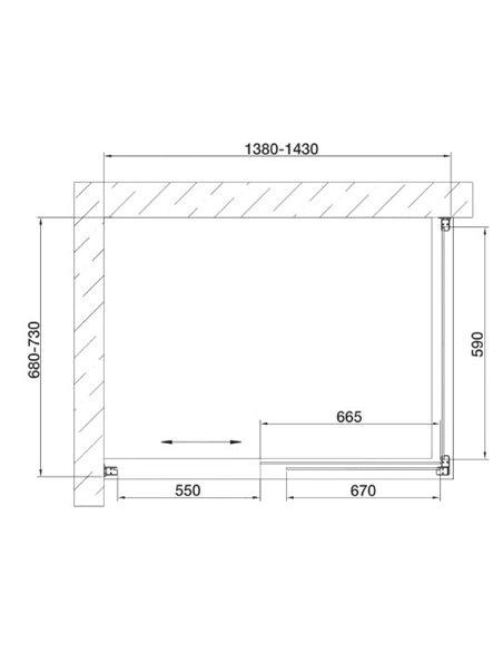Vegas Glass dušas stūris ZP+ZPV 140*70 05 05 - 7