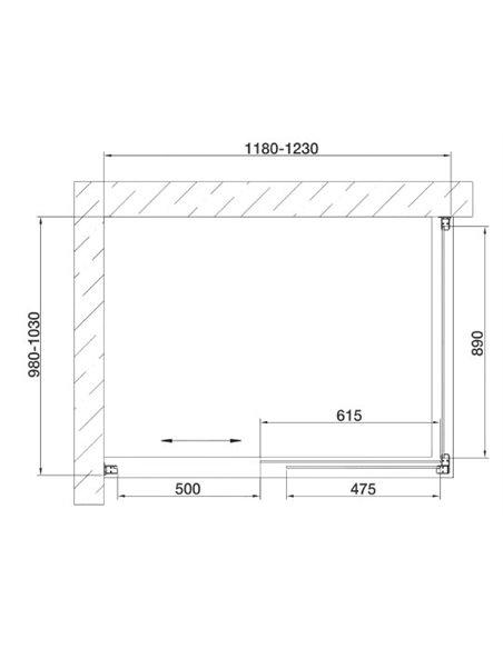 Vegas Glass dušas stūris ZP+ZPV 120*100 05 10 - 7