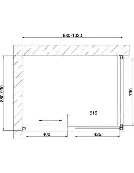 Vegas Glass dušas stūris ZP+ZPV 100*90 07 02 - 7