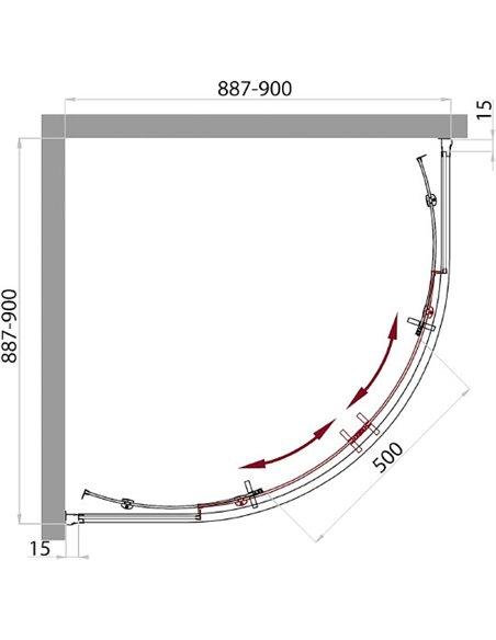 BelBagno dušas stūris Uno R 2 90 C Cr - 5