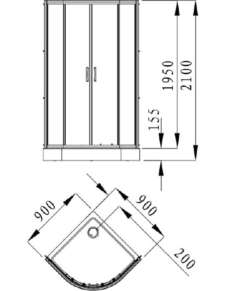 Alvaro Banos dušas stūris Granada S90.20 Cromo - 5