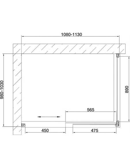 Vegas Glass dušas stūris ZP+ZPV 110*100 09 05 - 7