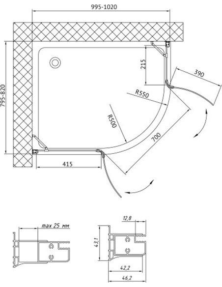 Vegas Glass dušas stūris AFS-F 100*80 01 01 L - 8