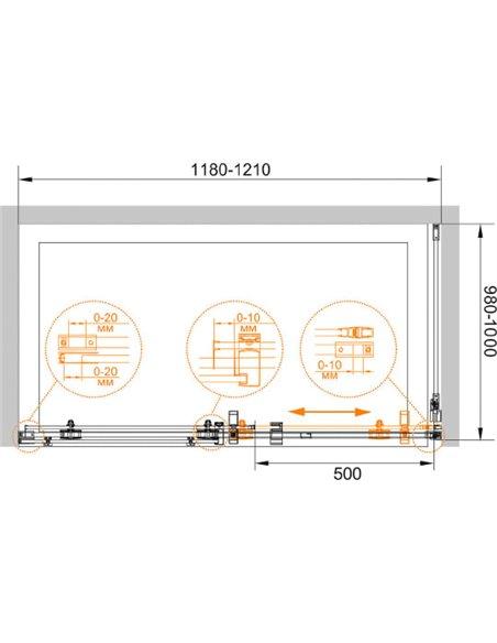 Cezares dušas stūris Stylus O M AH1 120/100 C Cr - 7