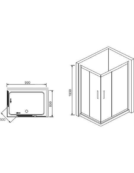 RGW dušas stūris Classic CL-42 (865-890)x(965-990)x1850 - 3