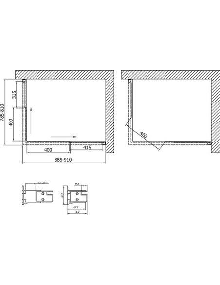Vegas Glass dušas stūris ZA-F 90*80 08 10 - 7