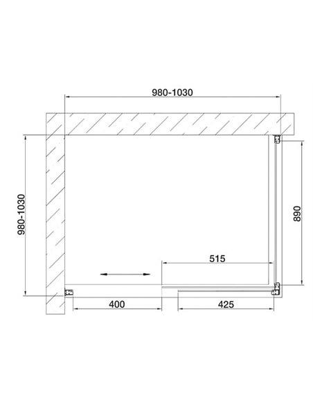 Vegas Glass dušas stūris ZP+ZPV 100*100 09 05 - 7