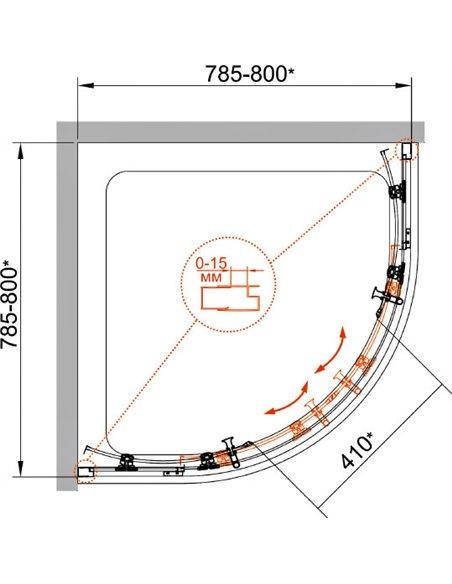 Cezares dušas stūris ECO-O-R-2-80-C-Cr - 6
