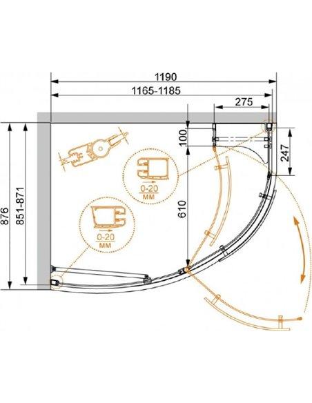 Cezares dušas stūris Elena RH1 120/90 C Cr L - 4
