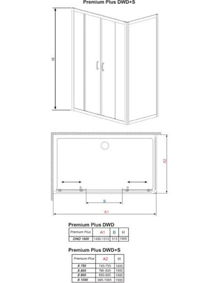 Radaway dušas stūris Premium Plus DWD+S - 14