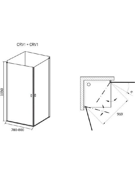 Ravak dušas stūris CRV1-80+CRV1 - 5