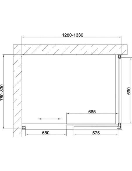 Vegas Glass dušas stūris ZP+ZPV 130*80 07 02 - 7