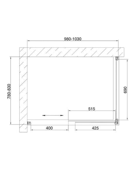 Vegas Glass dušas stūris ZP+ZPV 100*80 05 02 - 7