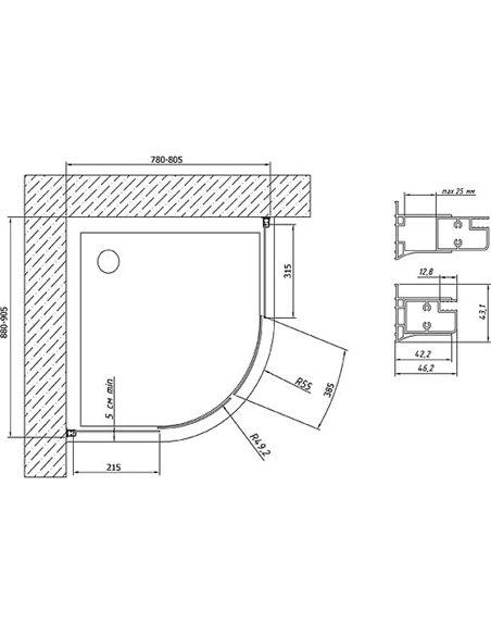 Vegas Glass dušas stūris ZS-F 90*80 05 05 - 7