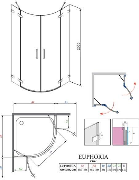 Radaway dušas stūris Euphoria PDD 100 - 8
