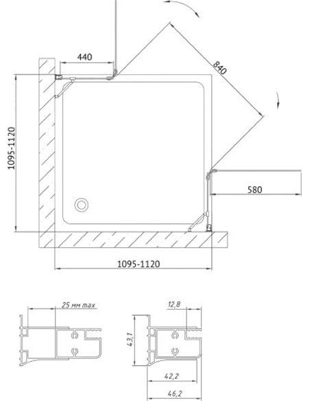 Vegas Glass dušas stūris AFA 110 01 01 - 8
