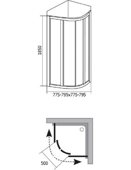 Ravak dušas stūris SKCP4-80 - 4