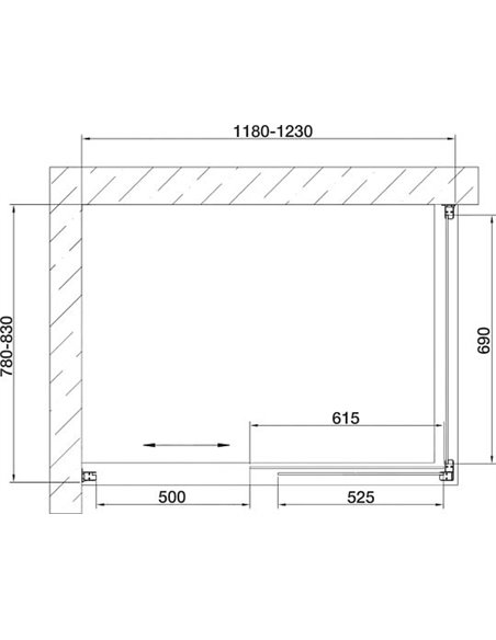Vegas Glass dušas stūris ZP+ZPV 120*80 09 05 - 7