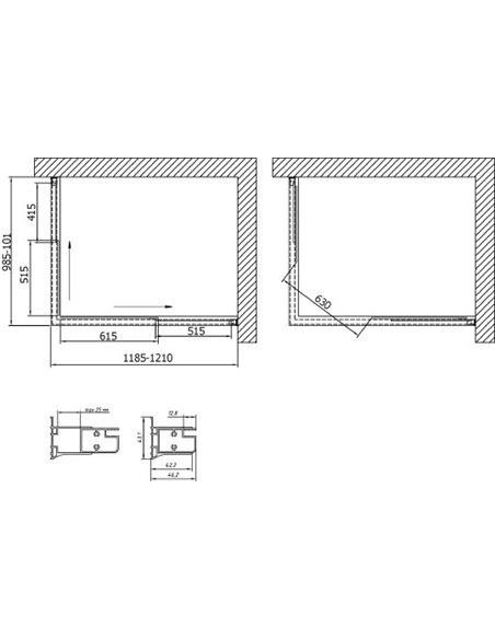 Vegas Glass dušas stūris ZA-F 120*100 05 05 - 7