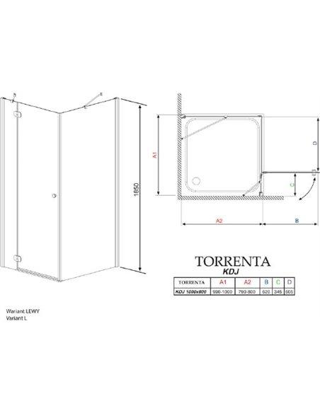 Radaway dušas stūris Torrenta KDJ - 6