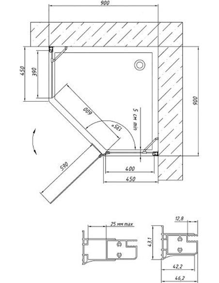 Vegas Glass dušas stūris AFA-Pen 90 07 01 R - 7