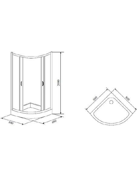 Timo dušas stūris TL-8001 Romb Glass - 4