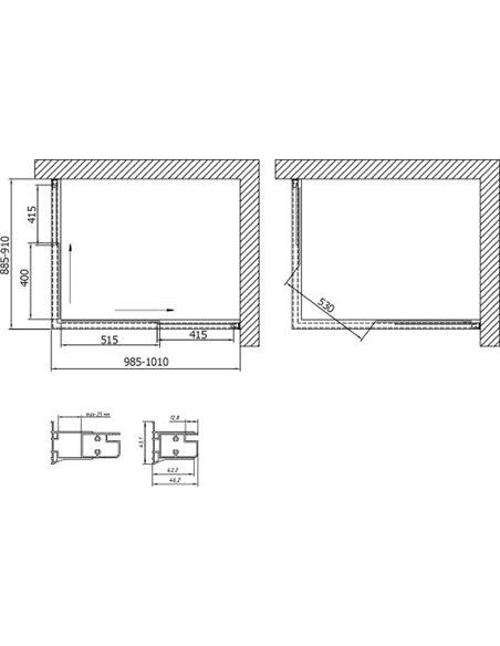Vegas Glass dušas stūris ZA-F 100*90 01 01 - 7