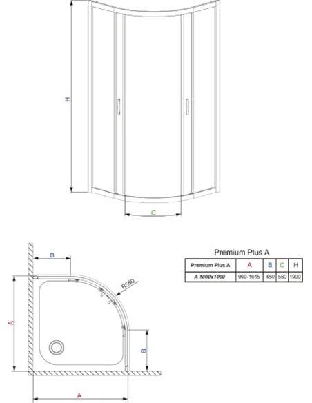 Radaway dušas stūris Premium Plus A - 11
