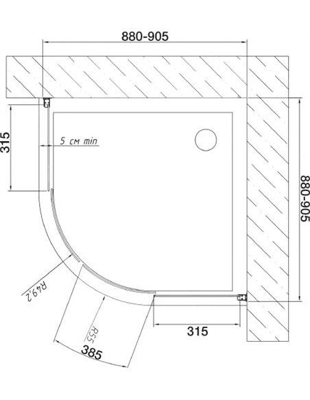 Vegas Glass dušas stūris ZS 90 05 05 - 7
