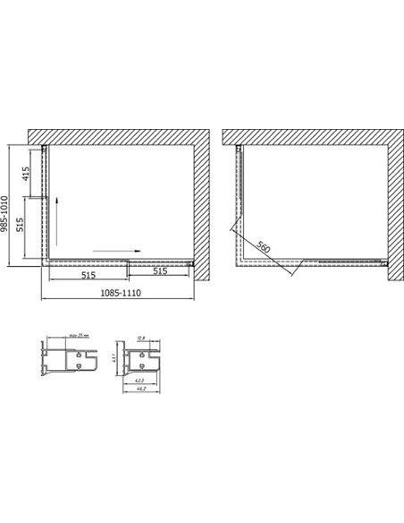 Vegas Glass dušas stūris ZA-F 110*100 07 01 - 7