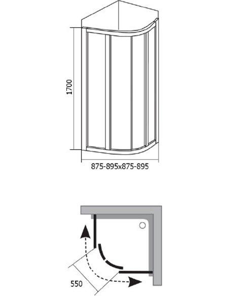Ravak dušas stūris SKCP4-90 Sabina - 4