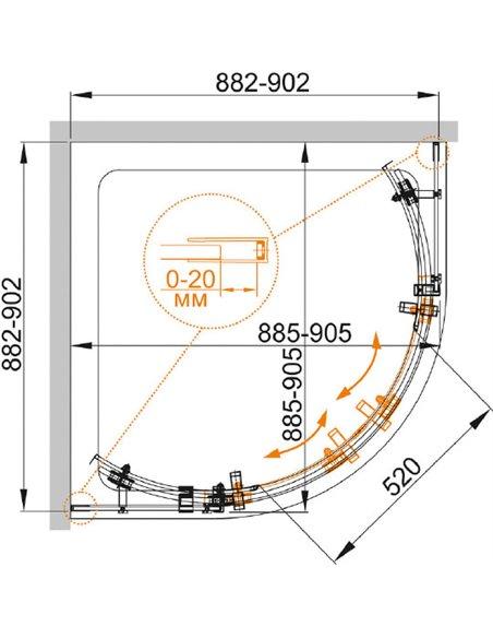 Cezares dušas stūris STYLUS-O-M-R-2-90-C-Cr - 8