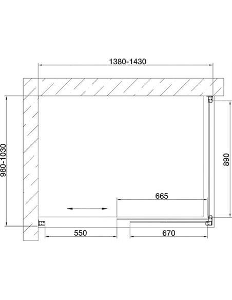 Vegas Glass dušas stūris ZP+ZPV 140*100 09 01 - 7