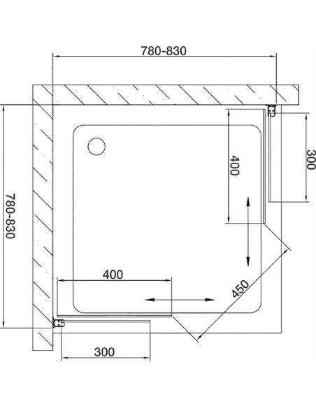 Vegas Glass dušas stūris ZA 80 05 01 - 7