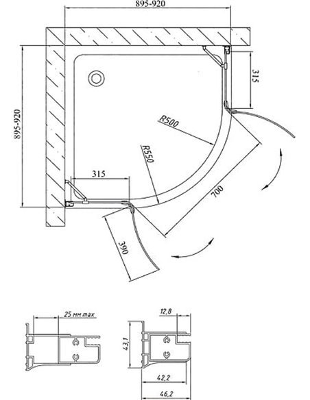 Vegas Glass dušas stūris AFS 0090 01 01 - 9