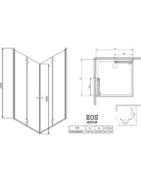 Radaway dušas stūris EOS KDD-B - 8