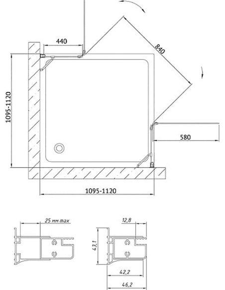 Vegas Glass dušas stūris AFA 110 09 01 - 8