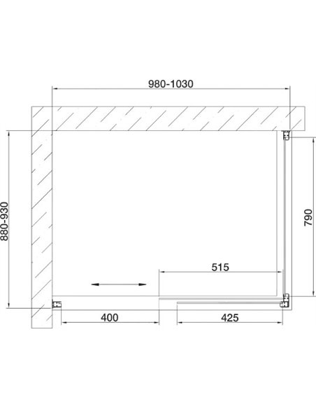 Vegas Glass dušas stūris ZP+ZPV 100*90 07 01 - 7