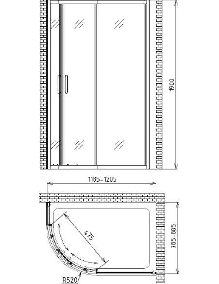 Gemy dušas stūris Victoria S30182 - 4