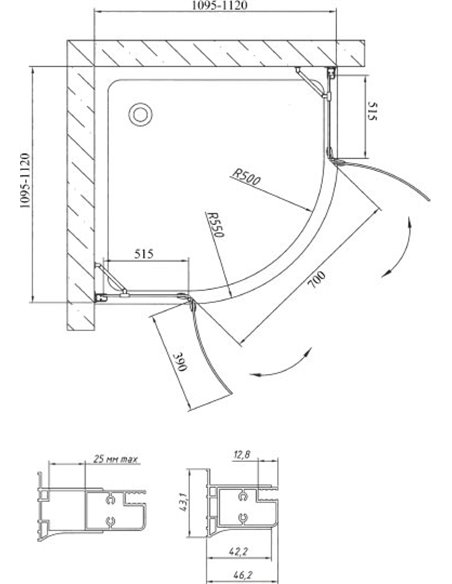 Vegas Glass dušas stūris AFS 110 07 01 - 9
