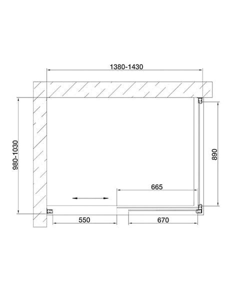 Vegas Glass dušas stūris ZP+ZPV 140*100 05 01 - 7