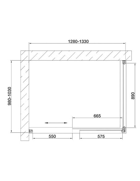 Vegas Glass dušas stūris ZP+ZPV 130*100 05 01 - 7