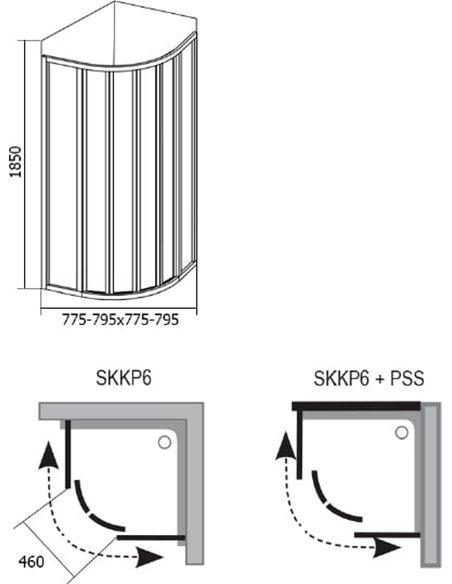 Ravak dušas stūris SKKP6-80 - 4