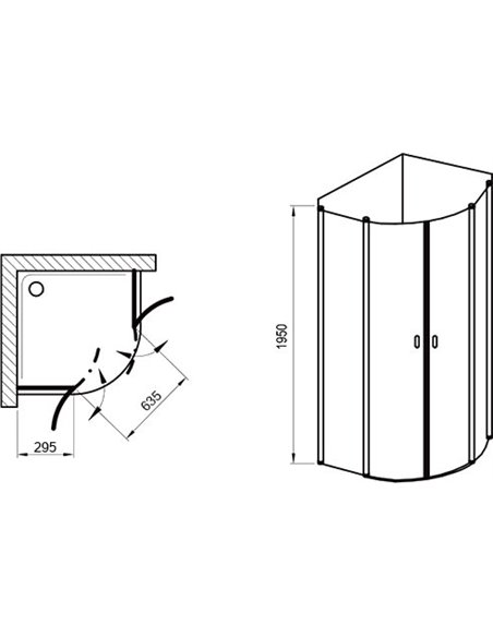 Ravak dušas stūris CSKK4-80 - 4