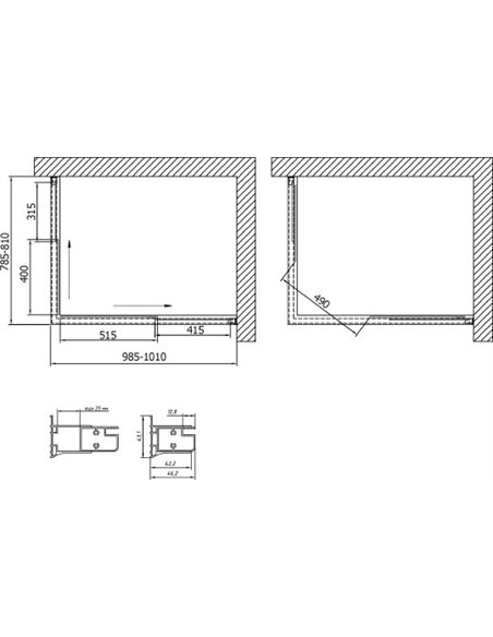 Vegas Glass dušas stūris ZA-F 100*80 05 01 - 7