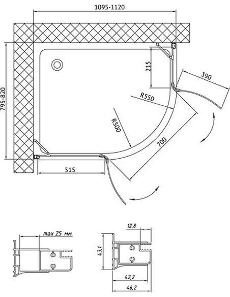 Vegas Glass dušas stūris AFS-F 110*80 01 01 L - 8